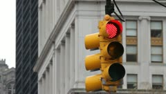 0021 NYC Traffic Light Red to Green - stock footage