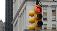 0021 NYC Traffic Light Red to Green Stock Footage