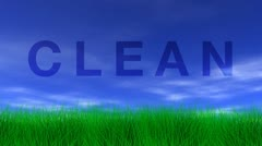 Clean, green grass & blue sky Stock Footage