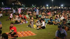 Crowd attending the King's Birthday celebration in Bangkok Stock Footage
