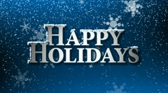 Happy Holidays With Snowflakes (Animation Loop) Stock Footage