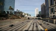 Stock Video Footage of Sunday traffic on Freeway - Downtown LA