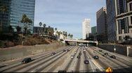 Sunday traffic on Freeway - Downtown LA Stock Footage