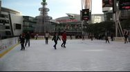 Ice Skating Rink - Los Angeles, CA - Christmas time Stock Footage
