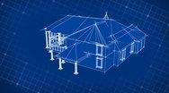 Blueprint House Design 3D Stock Footage
