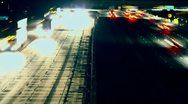 Freeway Traffic Night Time-Lapse Stock Footage