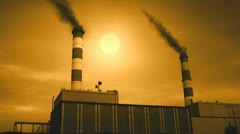 Industrial Factory Building With Smoke Stacks Stock Footage