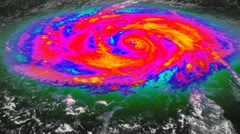 Stock Video Footage of Hurricane Infrared Satellite View