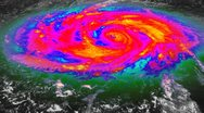 Hurricane Infrared Satellite View Stock Footage