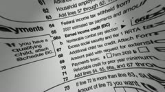 IRS W-4 veroilmoituksessaan makro Arkistovideo