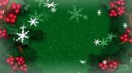 Christmas Holly Ivy With Snow Flakes Falling Stock Footage