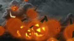 Halloween Jack-O'-Lantern Pumpkins Flying - stock footage
