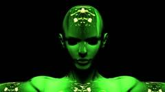 Digital cyborg woman Stock Footage