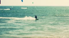 Kitesurfer Catches Major Air - Jump Off Wave Stock Footage