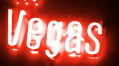 Las Vegas Red Neon Sign Stock Footage