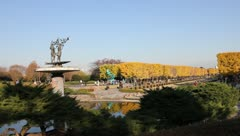 Tachikawa park with Autumn scenery & parade of tourists Stock Footage