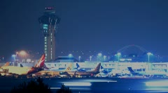 Lax airport jets led pixelated (time-lapse) Stock Footage