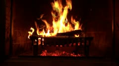 Logs burning in a fireplace Stock Footage