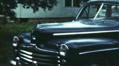 Old Car And Man (Archival Film) Stock Footage