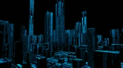 Binary computer data city skyline Stock Footage