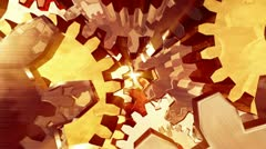 gears turning - 3d fly through (loop) - stock footage