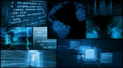 Digital data network global technology montage Stock Footage