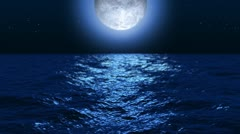 moonlight ocean at night - stock footage