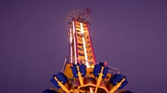 Sky drop carnival ride (+ audio) Stock Footage