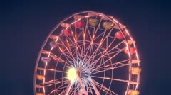 Ferris Wheel Carnival Ride At Night - stock footage