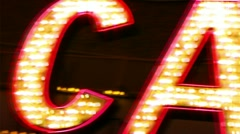 Casino neon sign with flashing light bulbs Stock Footage