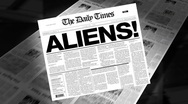Stock Video Footage of aliens! - newspaper headline (intro + loops)