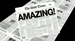 amazing! - newspaper headline - stock footage