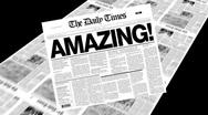 Amazing! - newspaper headline Stock Footage