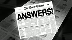 Stock Video Footage of answers! - newspaper headline (reveal + loops)
