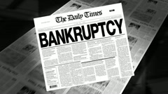 bankruptcy - newspaper headline (intro + loops) - stock footage