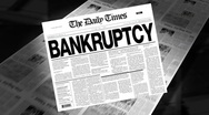 Bankruptcy - newspaper headline (intro + loops) Stock Footage