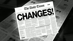 Stock Video Footage of changes! - newspaper headline