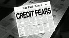 Stock Video Footage of credit fears - newspaper headline (intro + loops)