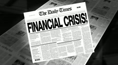 Financial Crisis - Newspaper Headline (Intro + Loops) - stock footage