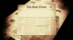 Old Newspaper Headline (Blank) - stock footage