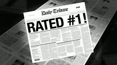Rated #1 - newspaper headline (reveal + loops) Stock Footage