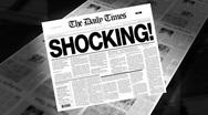 Shocking! - newspaper headline (intro + loops) Stock Footage