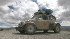 VW Beetle in Tibet Stock Footage