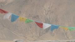 Tibet - prayer flags Stock Footage