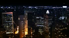 New York City skyline at night (hd looping) Stock Footage