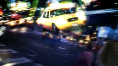 New York City streets, taxis, traffic & people (montage) Stock Footage