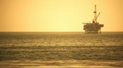 Offshore oil rig drilling platform - pacific coast Stock Footage