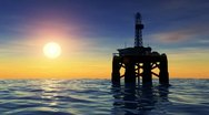 Stock Video Footage of offshore oil rig drilling platform