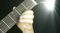 Stock Video Footage of playing guitar,strum,disco rays lights.