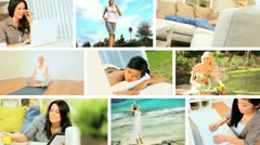 Montage Images of Young Females Modern Lifestyle Stock Footage